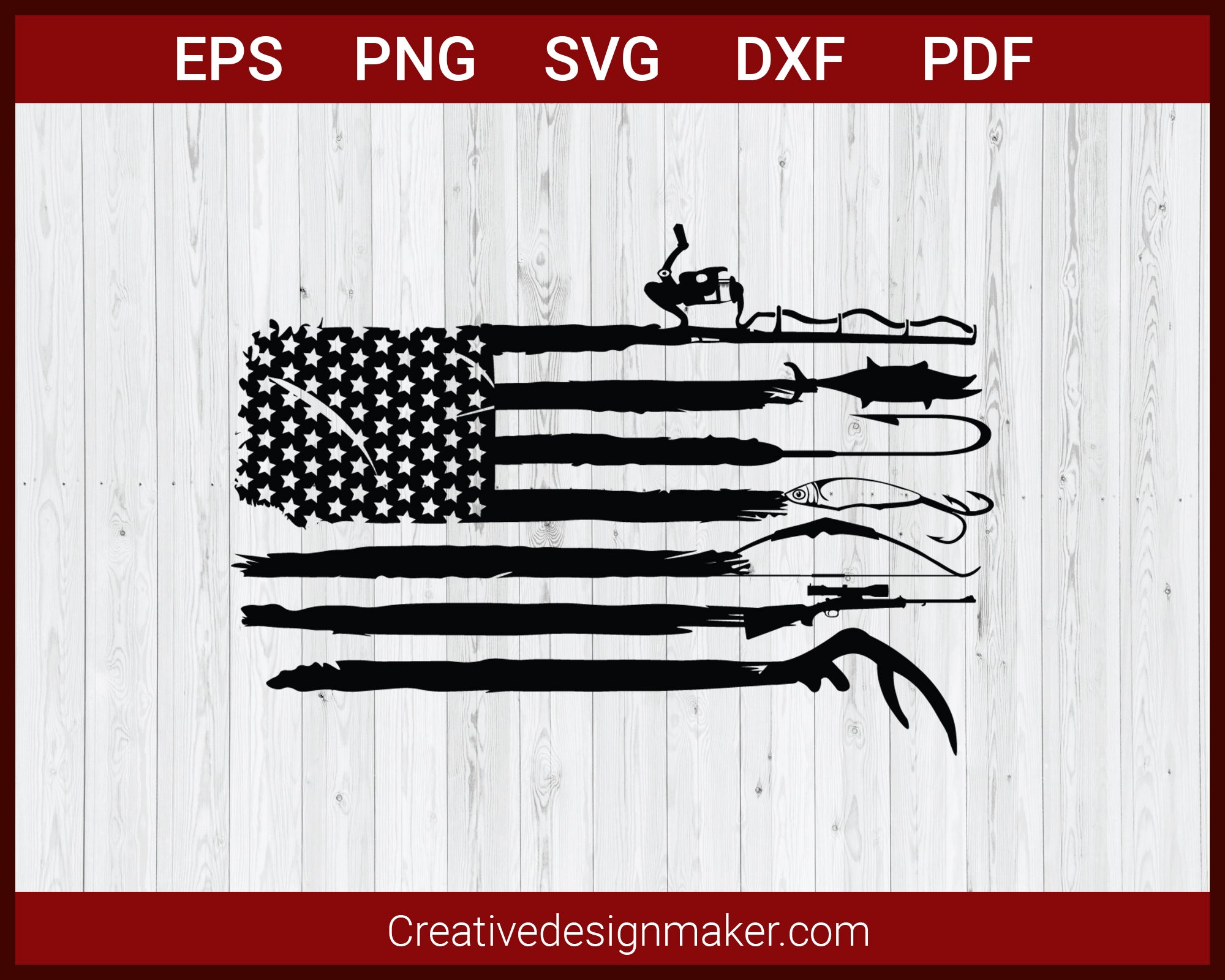 Hunting and Fishing American Flag SVG Cut File For Cricut Silhouette eps png dxf Printable Files