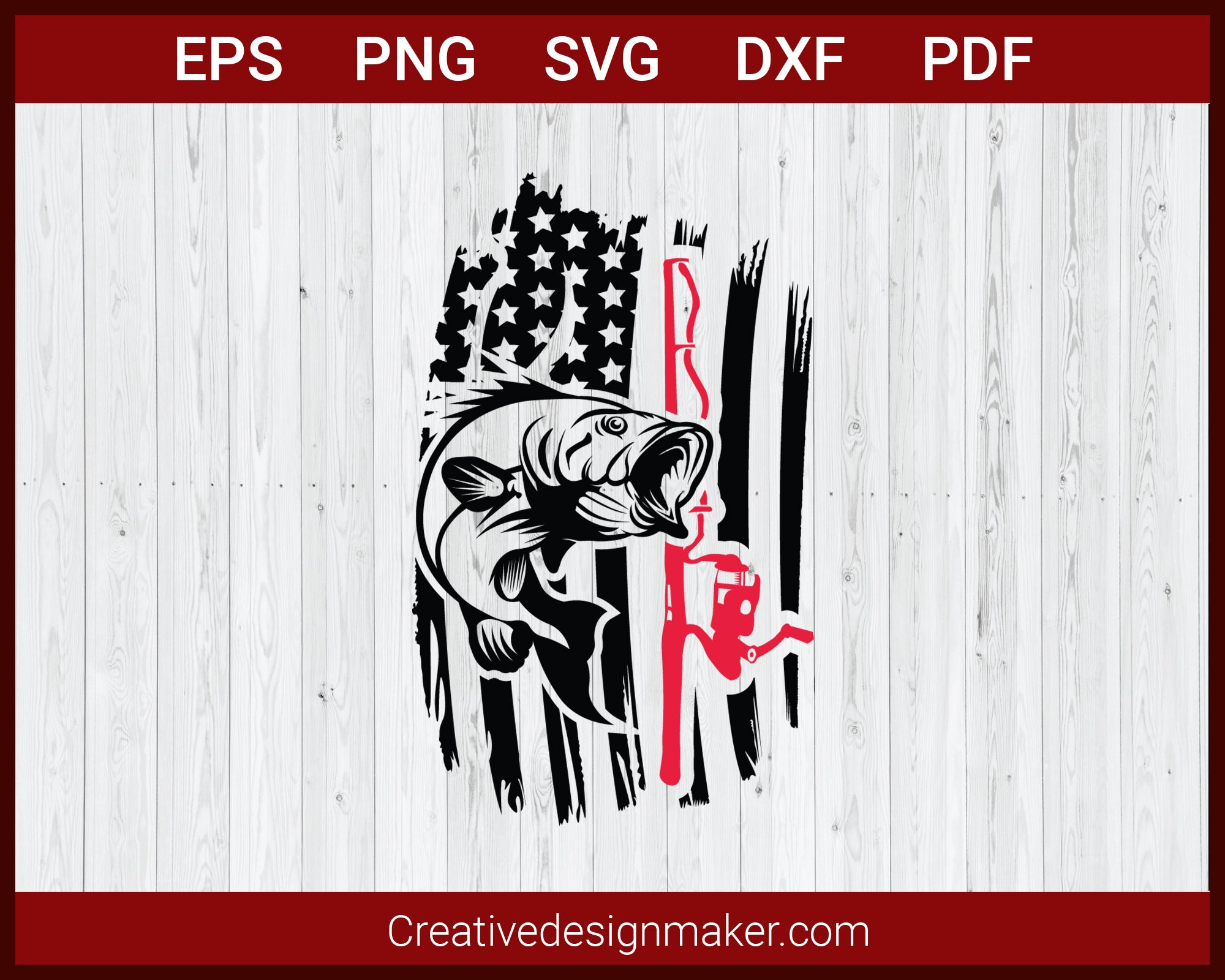 Download Fishing And Hunting American Flag Fishing Rod Svg Cricut Silhouette Creativedesignmaker