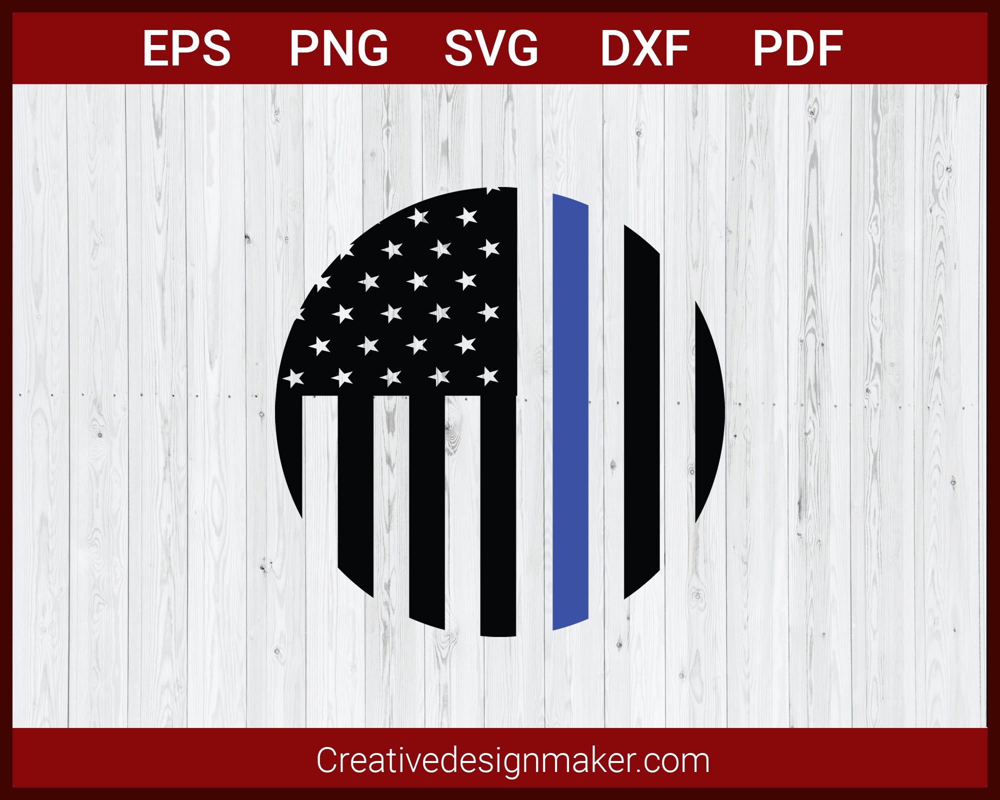 Thin Blue Line Flag United States Police SVG Cricut Silhouette DXF PNG EPS Cut File