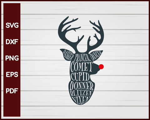 Reindeer Names Christmas svg