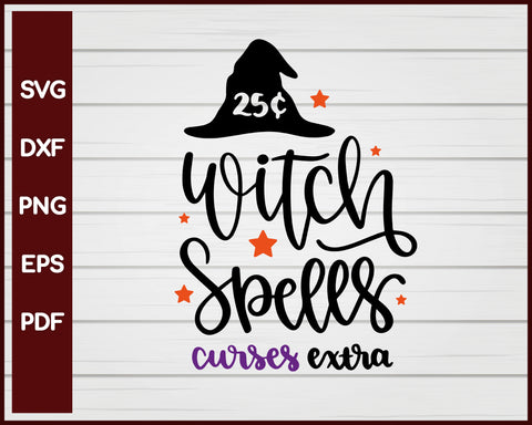 Witch Spells Curses Extra Halloween T-shirt Design svg