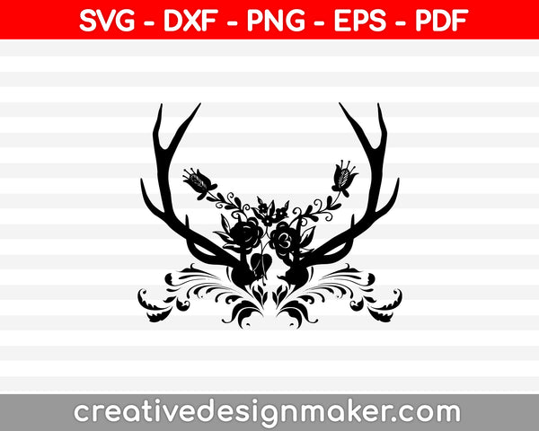 Floral Deer Antlers SVG SVG PNG Cutting Printable Files
