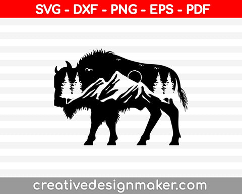 Mountain Range Bison SVG PNG Cutting Printable Files