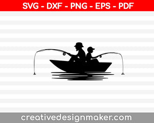 Fisher man Boat SVG, DXF, PNG, EPS, PDF Printable Files
