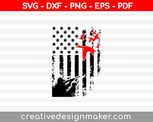 Duck Hunting USA Flag SVG PNG Cutting Printable Files