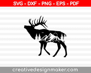 Mountain Range Deer SVG PNG Cutting Printable Files