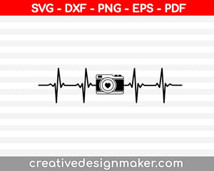Camera svg files, Camera silhouette clipart, Camera heartbeat svg, Love photography svg, Cam svg, Photographer design, Cut files Silhouette ,Camera Svg Dxf Png Eps Pdf Printable Files