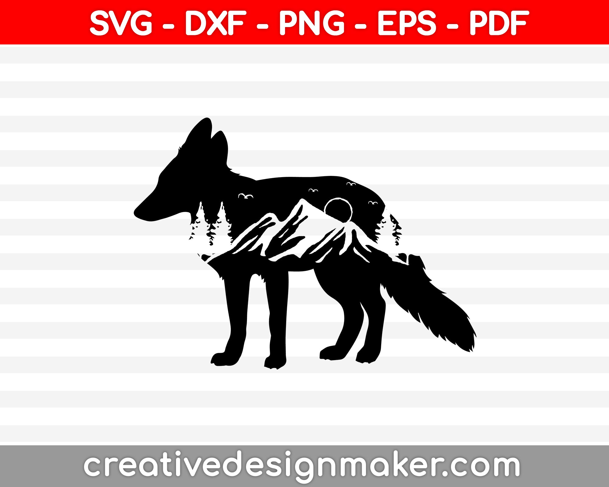 Mountain Range Fox SVG PNG Cutting Printable Files