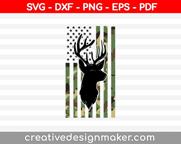 Camouflage American Flag Deer Hunting SVG PNG Cutting Printable Files