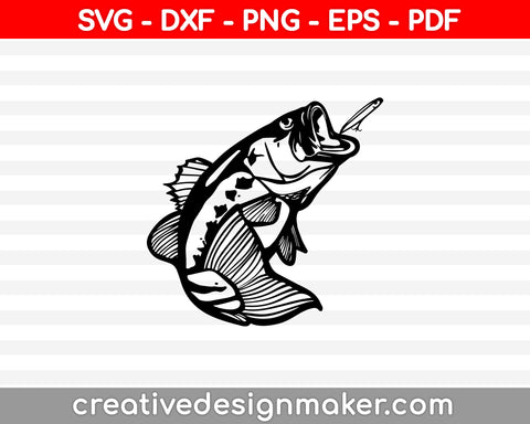 Hooked On Fishing SVG, DXF, PNG, EPS, PDF Printable Files