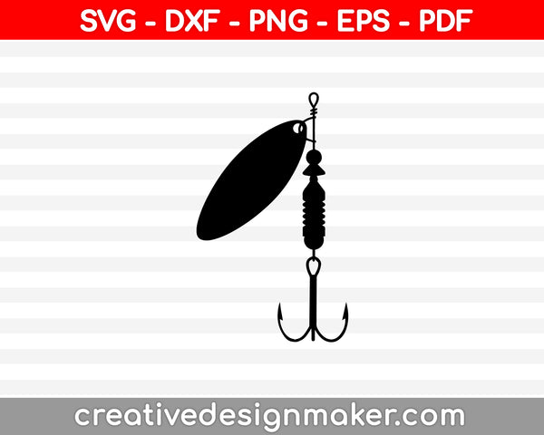Fishing Hook SVG, DXF, PNG, EPS, PDF Printable Files