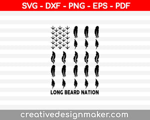 Long Beard Nation SVG PNG Cutting Printable Files