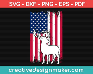 American Deer Hunter Patriotic Deer Hunting Svg, Hunting Svg Dxf Png Eps Pdf Printable Files
