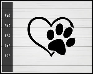 Heart Pet Paw Print Dog svg png eps Silhouette Designs For Cricut And Printable Files