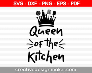 Baking Queen SVG - Cut file - DXF file - Kitchen design svg - Apron design Svg - Kitchen decal svg - Cooking mom - Baking svg - chef hat svg, Chef svg printable files