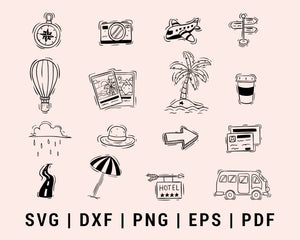 Doodle Style Of Cute Travel Icons Or Elements Cut File For Cricut Bundle SVG, DXF, PNG, EPS, PDF Silhouette Printable Files