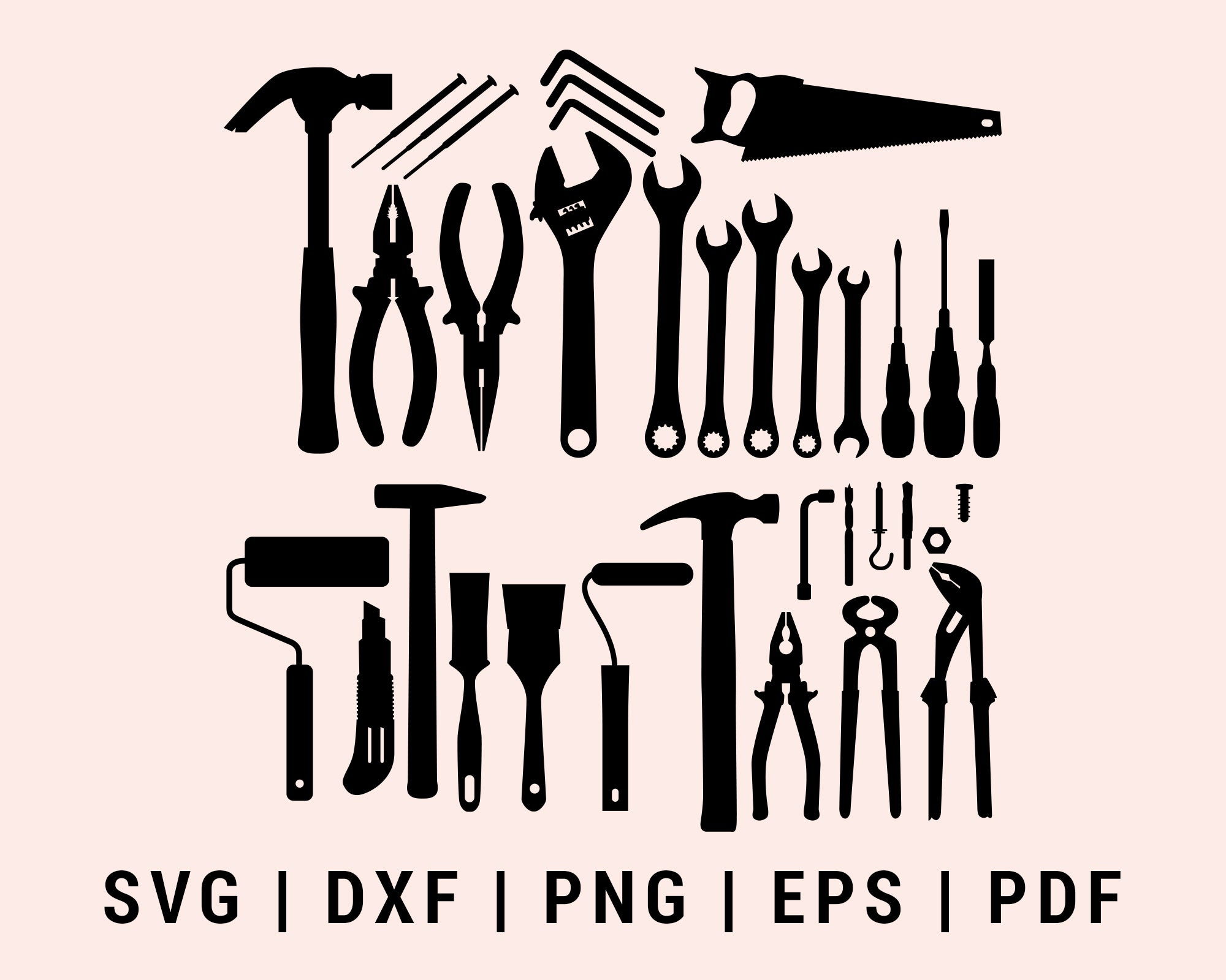 Tools Collection Cut File For Cricut Bundle SVG, DXF, PNG, EPS, PDF Silhouette Printable Files