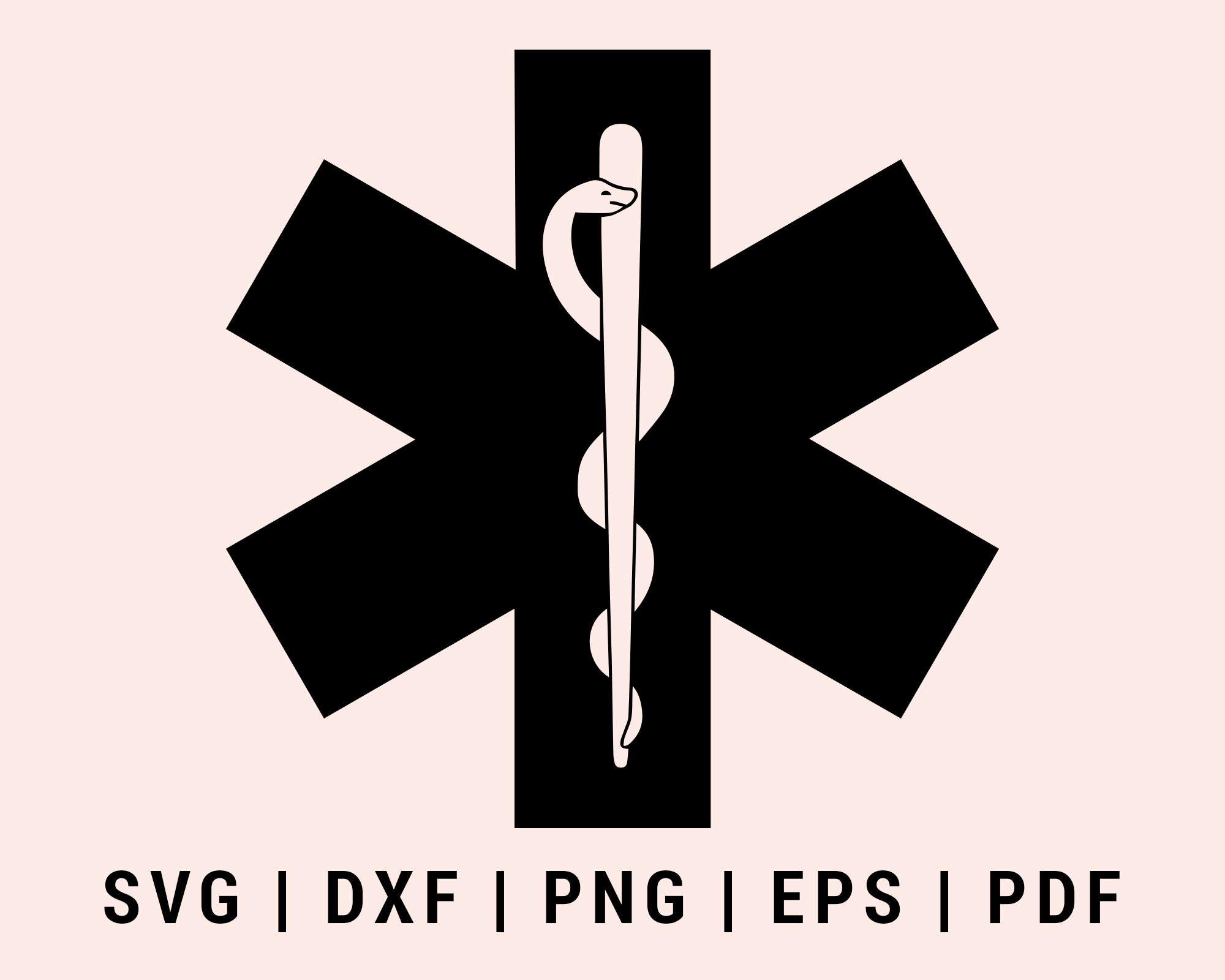Paramedic Star of Life EMS Logo Cut File For Cricut Bundle svg, dxf, png, eps, pdf Silhouette Files