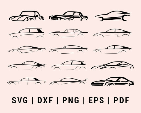 Muscle Race Sport Car Vehicle Cut File For Cricut Bundle SVG, DXF, PNG, EPS, PDF Silhouette Printable Files
