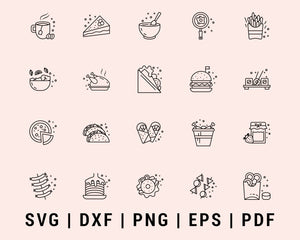 Various fast food and drink icon lined Cut File For Cricut Bundle SVG, DXF, PNG, EPS, PDF Silhouette Printable Files