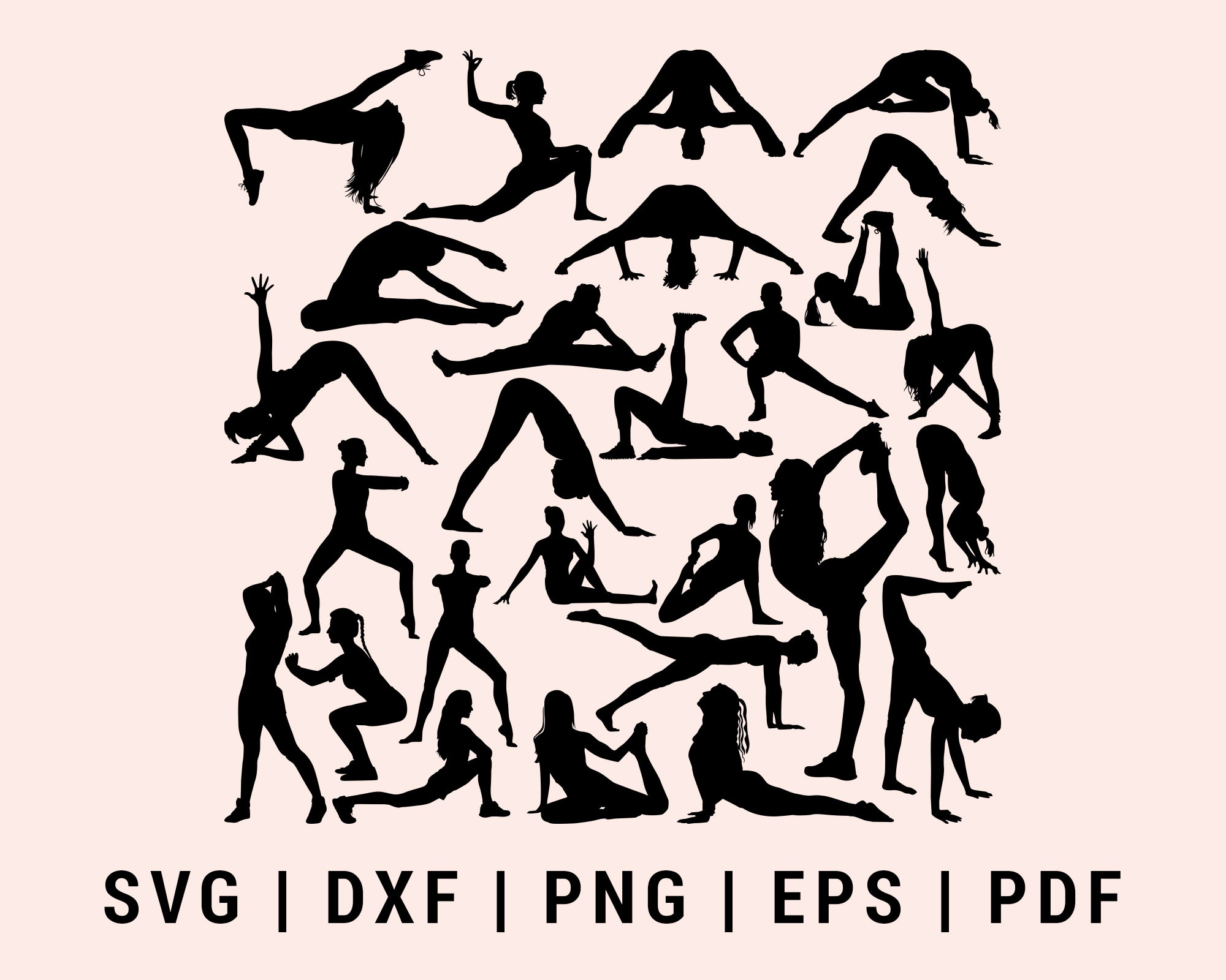 Yoga Mediation Fitness Exercise Practice Cut File For Cricut Bundle SVG, DXF, PNG, EPS, PDF Cricut Silhouette Printable Files