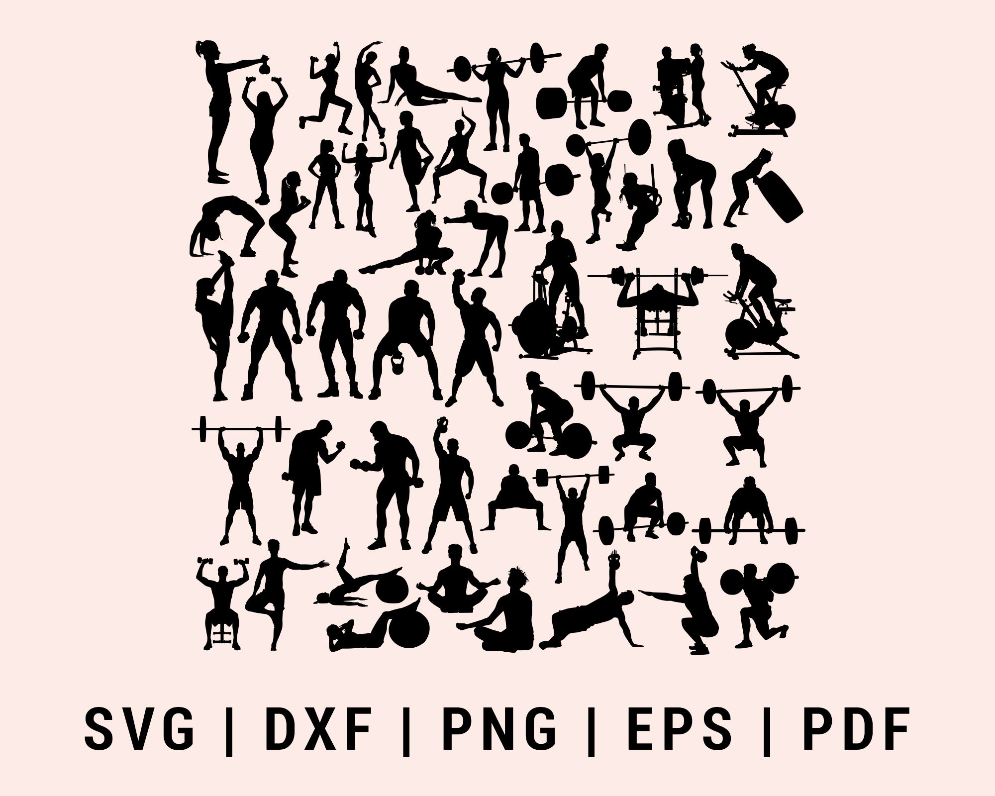 Fitness Bodybuilder Gym Workout Bodybuilding Muscles Barbell Bundle Dumbbells SVG, DXF, PNG, EPS, PDF Cricut Silhouette Printable Files