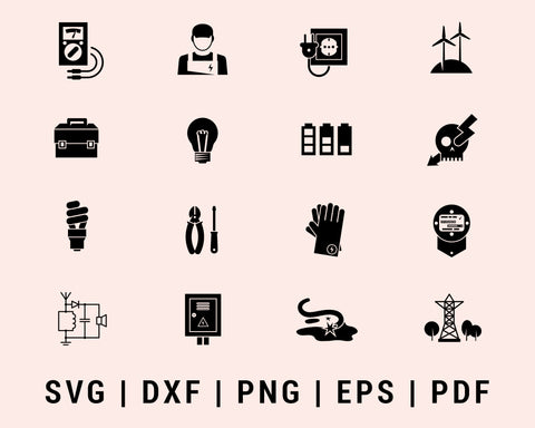 Electricity Engineer Icon Cut File For Cricut Bundle SVG, DXF, PNG, EPS, PDF Silhouette Printable Files