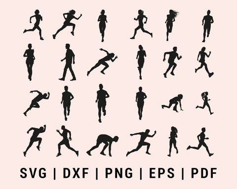 Runner Running Exercise Marathon Man Women Bundle SVG, DXF, PNG, EPS, PDF Cricut Silhouette Printable Files