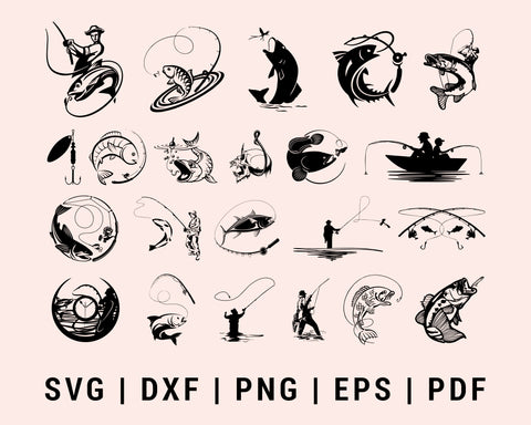 Fishing 10+ Design Bundle SVG, DXF, PNG, EPS, PDF Printable Files