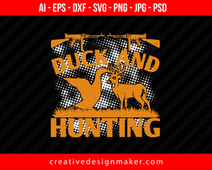 Duck And Hunting Print Ready Editable T-Shirt SVG Design!