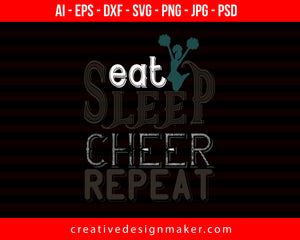 Eat Sleep Cheer Mom Football Print Ready Editable T-Shirt SVG Design!