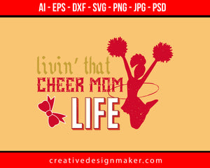 Levin That Cheer Mom Life Football Print Ready Editable T-Shirt SVG Design!