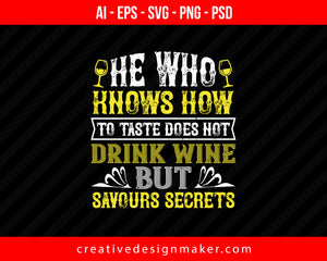 He who knows how to taste Wine Print Ready Editable T-Shirt SVG Design!