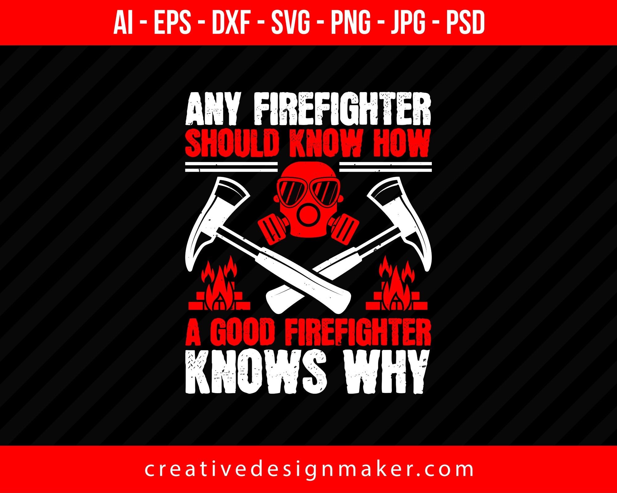 Any Firefighter Should Know How, A Good Firefighter Knows Why Print Ready Editable T-Shirt SVG Design!