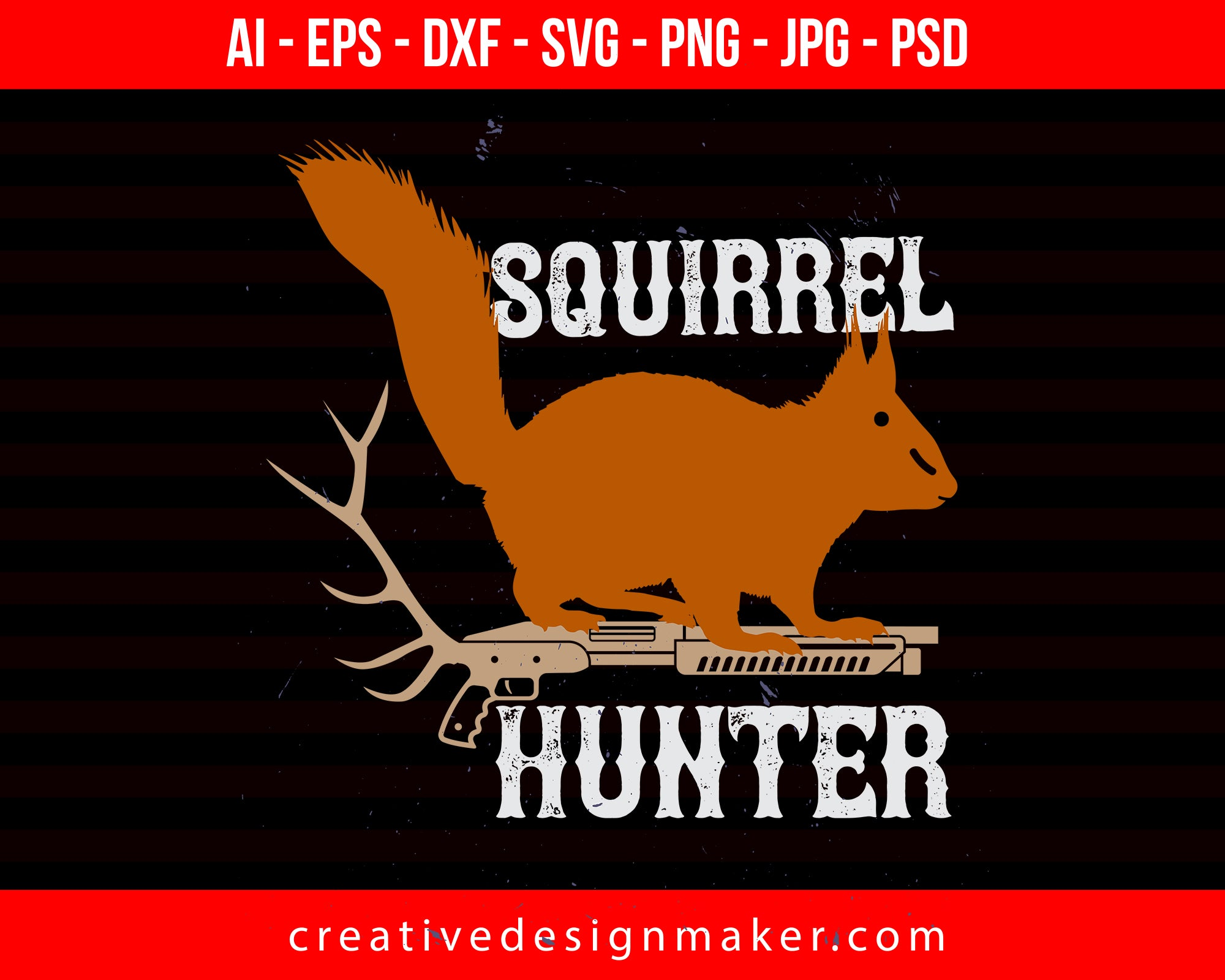Squirrel Hunter Print Ready Editable T-Shirt SVG Design!
