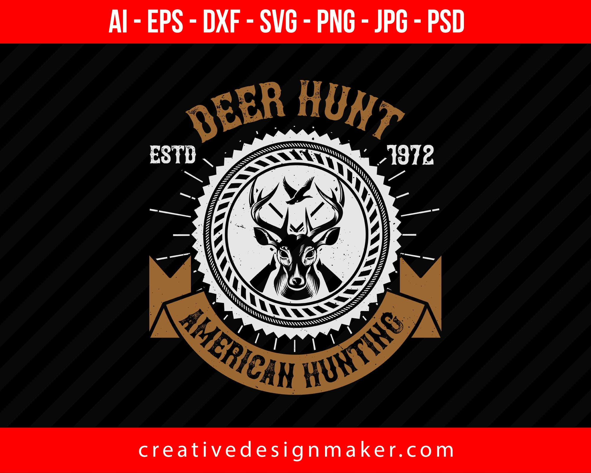 Dear Hunt American Hunting Club Print Ready Editable T-Shirt SVG Design!