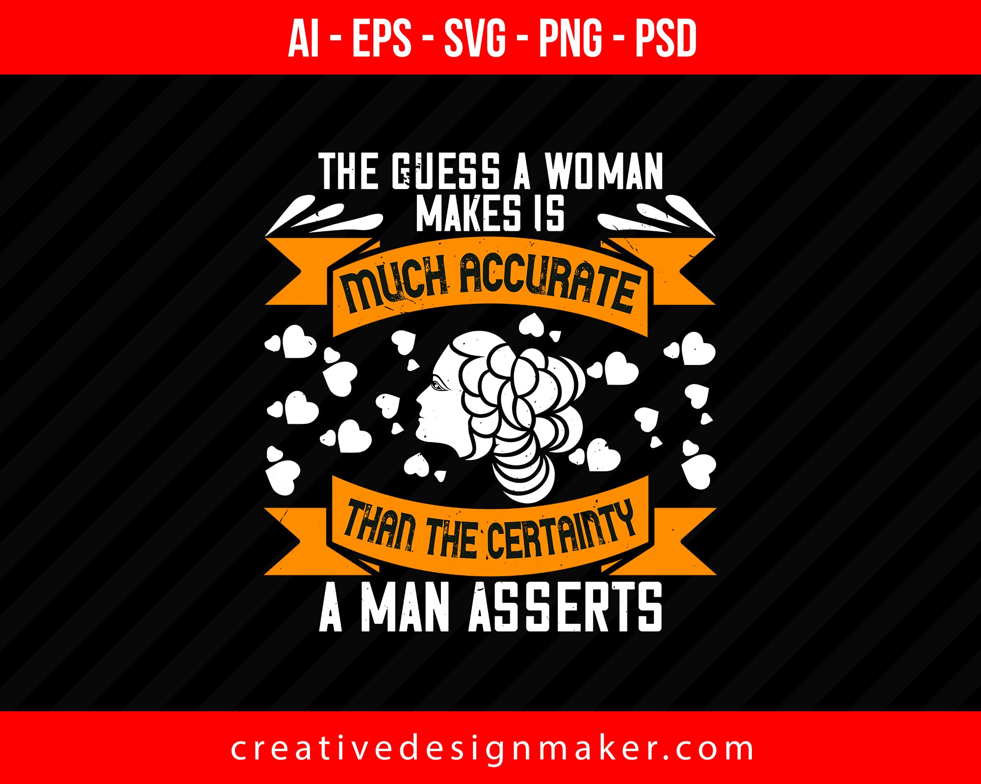 The guess, a woman makes is much accurate Women's Day Print Ready Editable T-Shirt SVG Design!