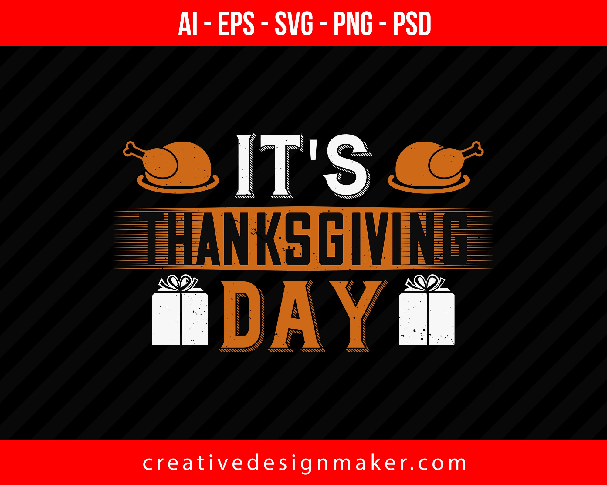 It's thanksgiving day Print Ready Editable T-Shirt SVG Design!