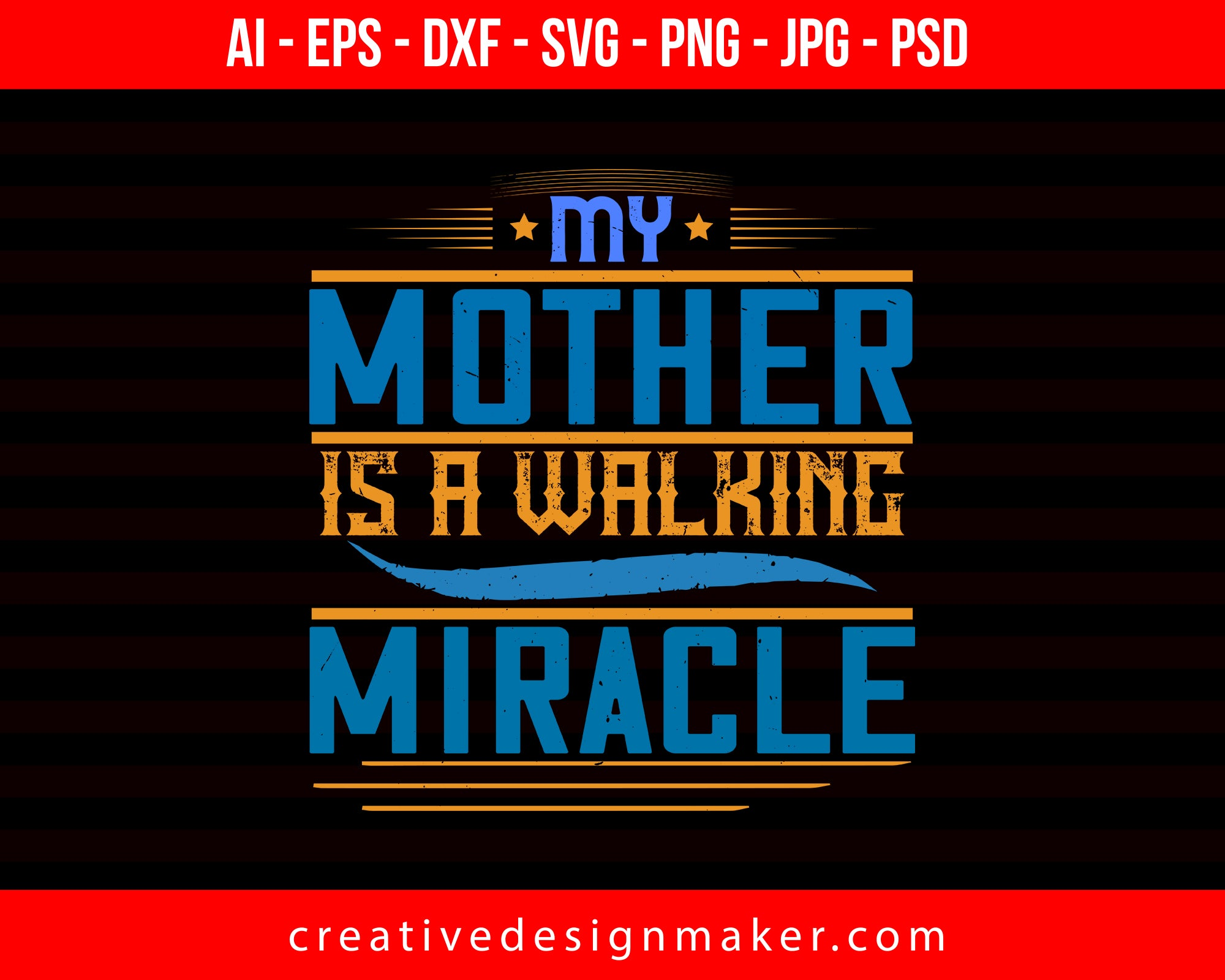 My Mother Is A Walking Miracle Mom Print Ready Editable T-Shirt SVG Design!