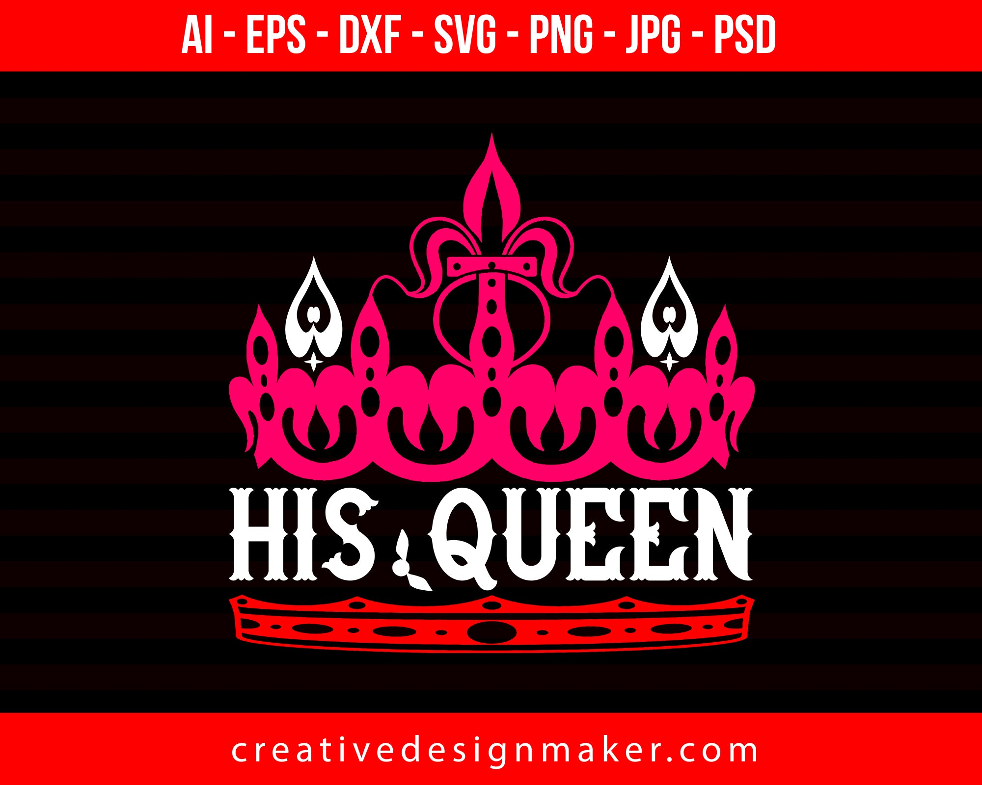 His Queen Couple Print Ready Editable T-Shirt SVG Design!