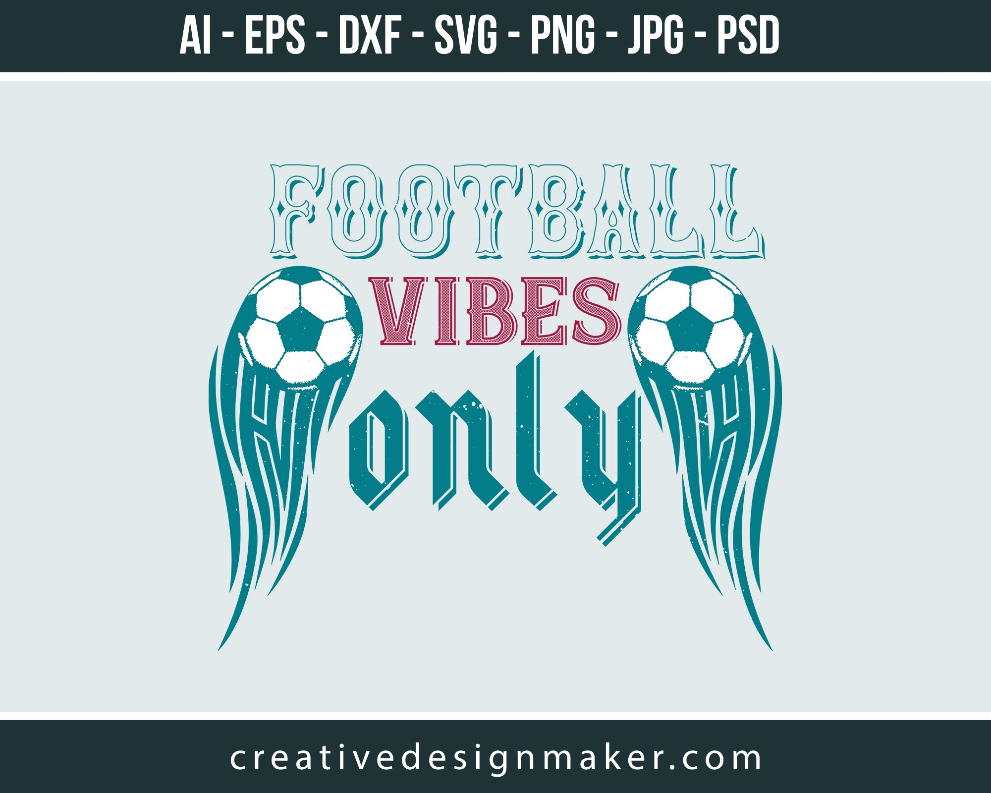 Football Vibes Only Print Ready Editable T-Shirt SVG Design!