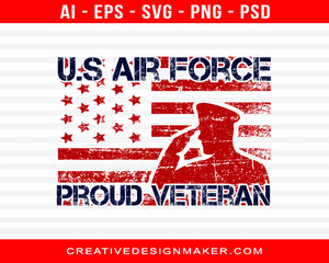 Us Air Force Proud Veteran Print Ready Editable T-Shirt SVG Design!