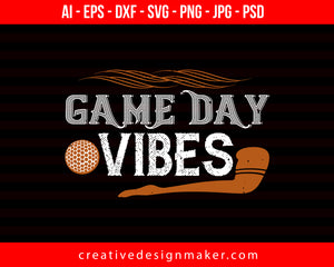Game Day Vibes Football Print Ready Editable T-Shirt SVG Design!