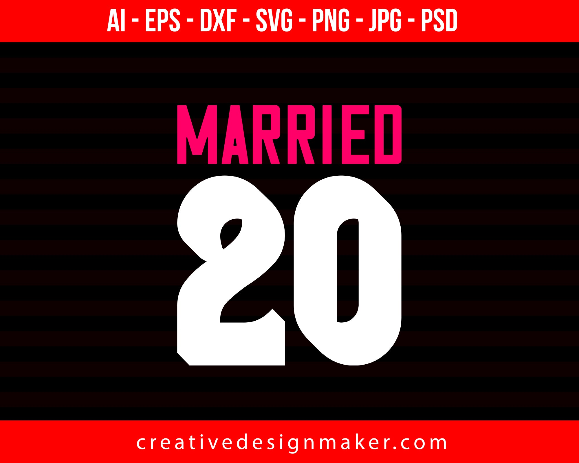 Married 20 Couple Print Ready Editable T-Shirt SVG Design!