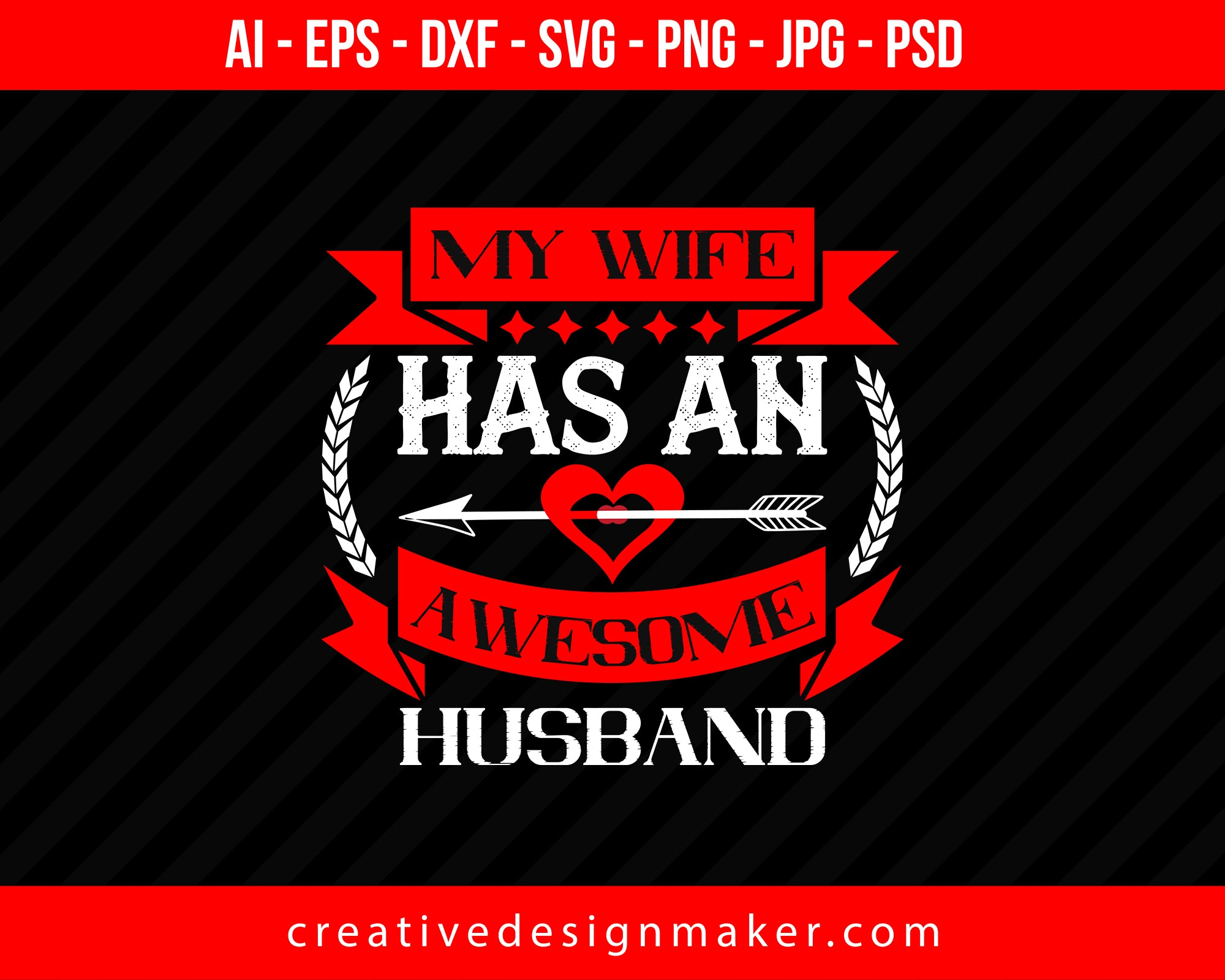My Wife Hasan Awesome Husband Couple Print Ready Editable T-Shirt SVG Design!