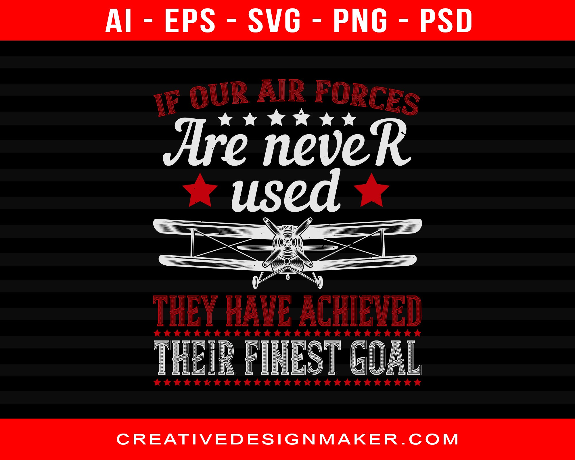 If Our Air Force Are Never Used They  Have Achieved Air Force Print Ready Editable T-Shirt SVG Design!