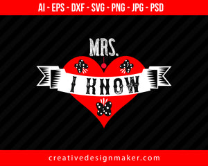 Mrs. I Know Couple Print Ready Editable T-Shirt SVG Design!