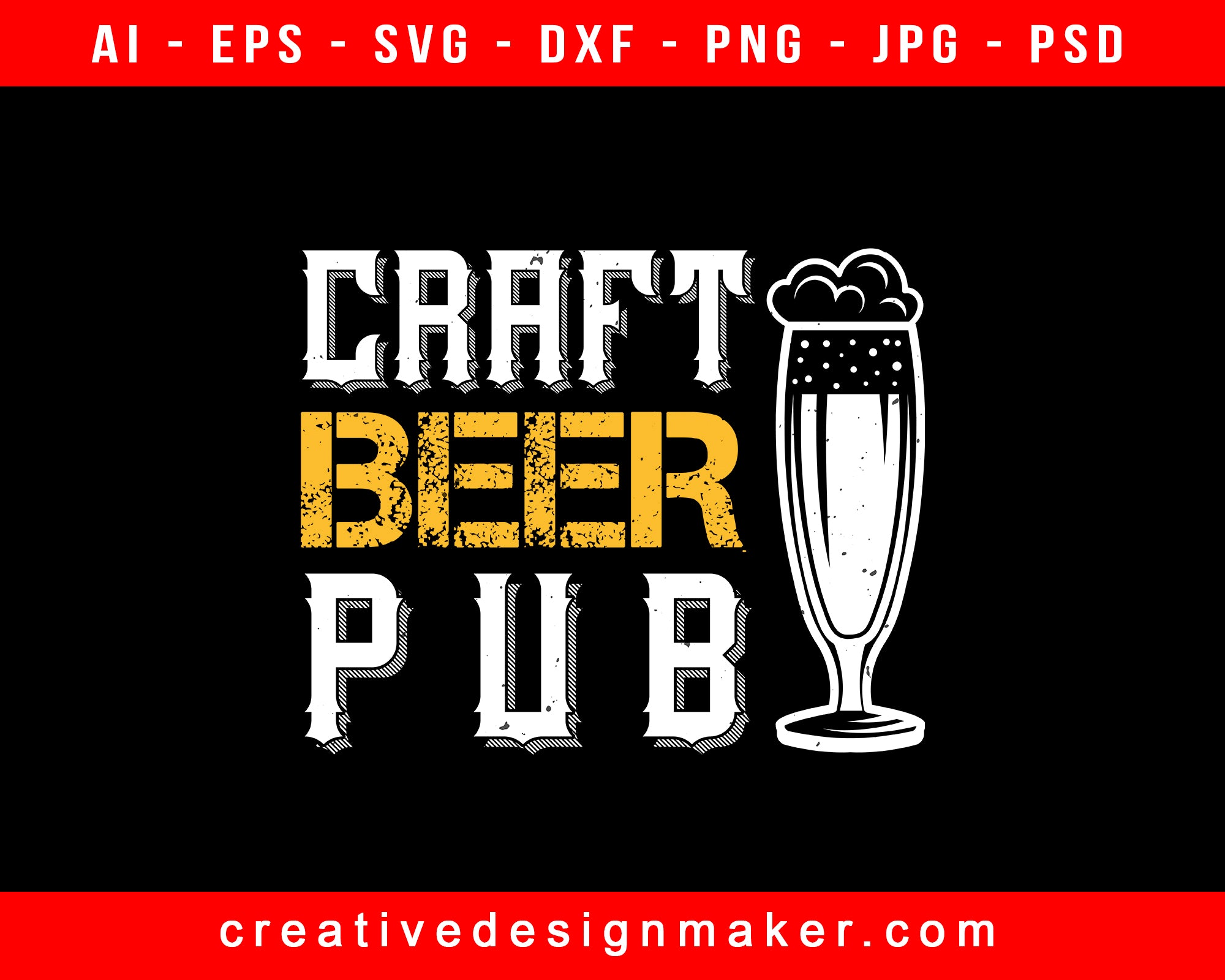 Craft Beer Pub Print Ready Editable T-Shirt SVG Design!