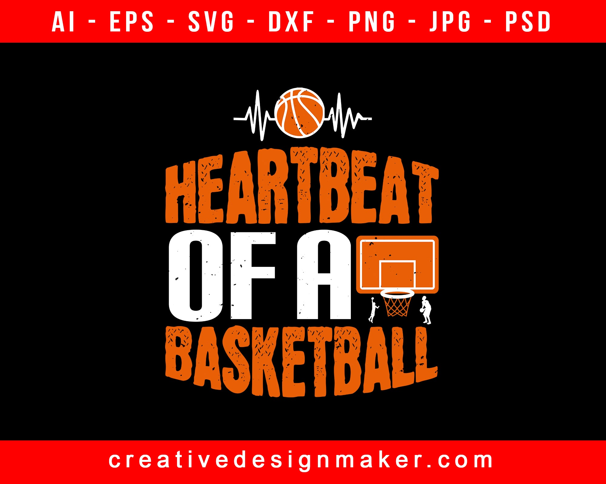 Heartbeat Of A Basketball Print Ready Editable T-Shirt SVG Design!
