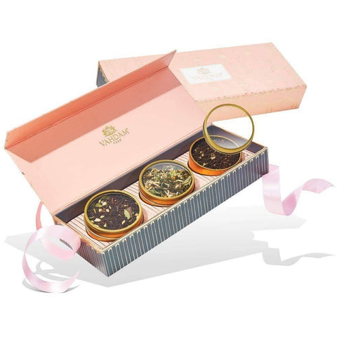 VAHDAM, BLUSH Assorted Teas Gift Box (3 Tin Caddy)